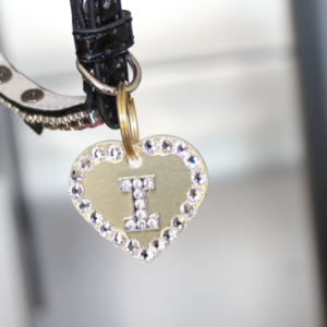 RockStar Gold Rhinestone Engravable Heart Charm Pet Charm
